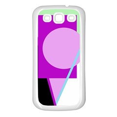 Purple geometric design Samsung Galaxy S3 Back Case (White)