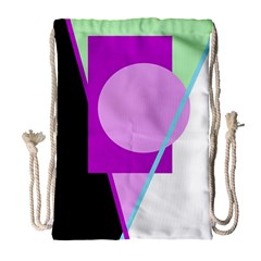 Purple geometric design Drawstring Bag (Large)