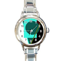 Geometric abstract design Round Italian Charm Watch