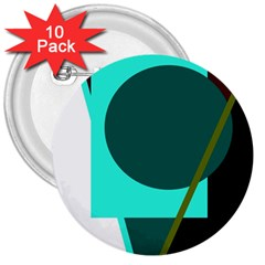 Geometric abstract design 3  Buttons (10 pack)