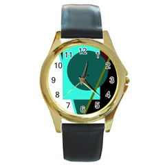 Geometric abstract design Round Gold Metal Watch