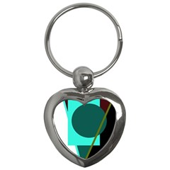 Geometric abstract design Key Chains (Heart)