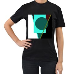 Geometric abstract design Women s T-Shirt (Black) (Two Sided)