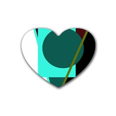 Geometric abstract design Rubber Coaster (Heart)