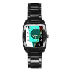 Geometric abstract design Stainless Steel Barrel Watch