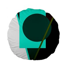 Geometric abstract design Standard 15  Premium Flano Round Cushions