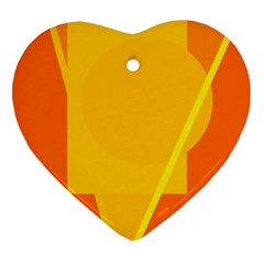 Orange abstract design Ornament (Heart)