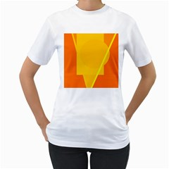 Orange abstract design Women s T-Shirt (White) (Two Sided)