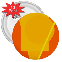 Orange abstract design 3  Buttons (10 pack)