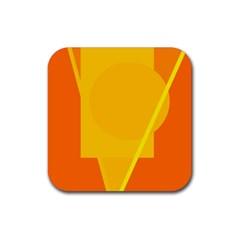 Orange abstract design Rubber Coaster (Square)