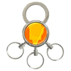 Orange abstract design 3-Ring Key Chains