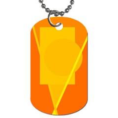 Orange abstract design Dog Tag (One Side)