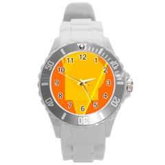 Orange abstract design Round Plastic Sport Watch (L)