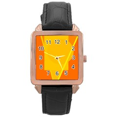 Orange abstract design Rose Gold Leather Watch