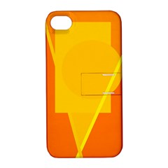 Orange abstract design Apple iPhone 4/4S Hardshell Case with Stand