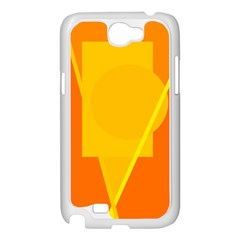 Orange abstract design Samsung Galaxy Note 2 Case (White)