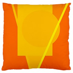 Orange abstract design Large Flano Cushion Case (One Side)