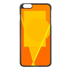 Orange abstract design Apple iPhone 6 Plus/6S Plus Black Enamel Case