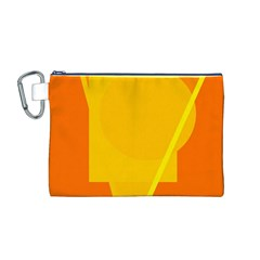 Orange abstract design Canvas Cosmetic Bag (M)