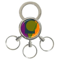 Geometric abstraction 3-Ring Key Chains