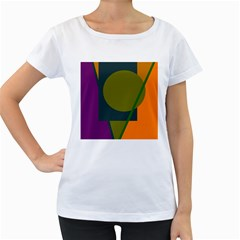 Geometric abstraction Women s Loose-Fit T-Shirt (White)