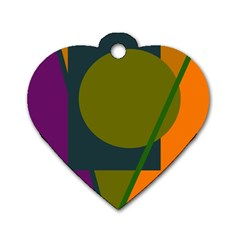 Geometric abstraction Dog Tag Heart (Two Sides)