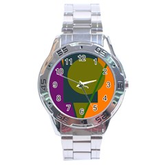 Geometric abstraction Stainless Steel Analogue Watch