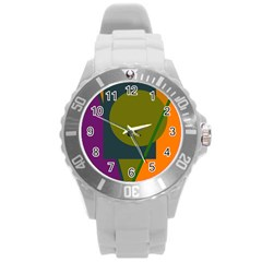 Geometric abstraction Round Plastic Sport Watch (L)