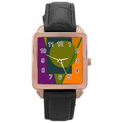 Geometric abstraction Rose Gold Leather Watch