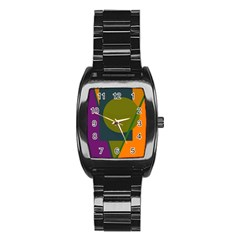Geometric abstraction Stainless Steel Barrel Watch
