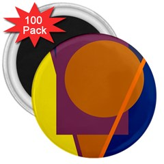 Geometric abstract desing 3  Magnets (100 pack)