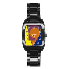 Geometric abstract desing Stainless Steel Barrel Watch