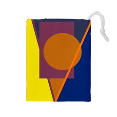 Geometric abstract desing Drawstring Pouches (Large)