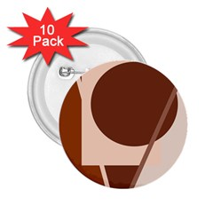 Brown geometric design 2.25  Buttons (10 pack)