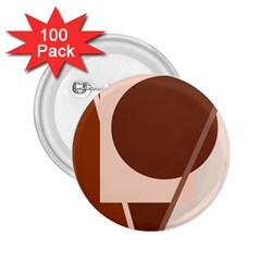 Brown geometric design 2.25  Buttons (100 pack)