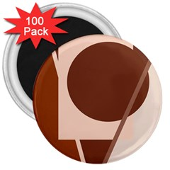 Brown geometric design 3  Magnets (100 pack)