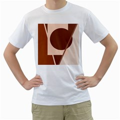 Brown geometric design Men s T-Shirt (White) (Two Sided)