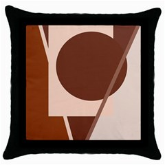 Brown geometric design Throw Pillow Case (Black)
