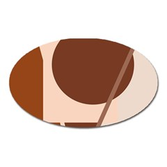 Brown geometric design Oval Magnet