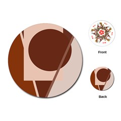 Brown geometric design Playing Cards (Round)