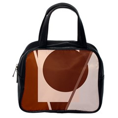 Brown geometric design Classic Handbags (One Side)