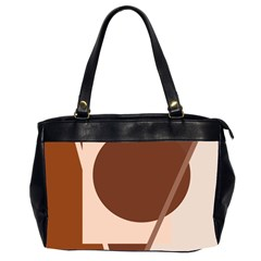 Brown geometric design Office Handbags (2 Sides)