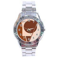 Brown geometric design Stainless Steel Analogue Watch