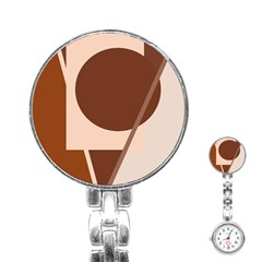 Brown geometric design Stainless Steel Nurses Watch