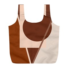 Brown geometric design Full Print Recycle Bags (L)