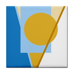 Blue and yellow abstract design Tile Coasters