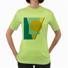 Blue and yellow abstract design Women s Green T-Shirt