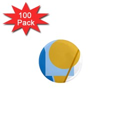 Blue and yellow abstract design 1  Mini Magnets (100 pack)