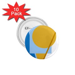 Blue and yellow abstract design 1.75  Buttons (10 pack)