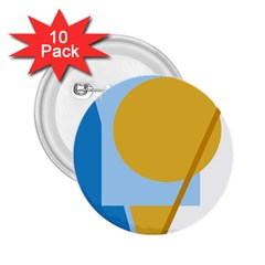 Blue and yellow abstract design 2.25  Buttons (10 pack)